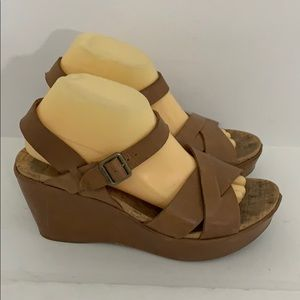 Authentic Kork-Ease leather wedge sandals Sz 10